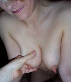 Amber: small breasts but gorgeous milk!  Click for larger image.